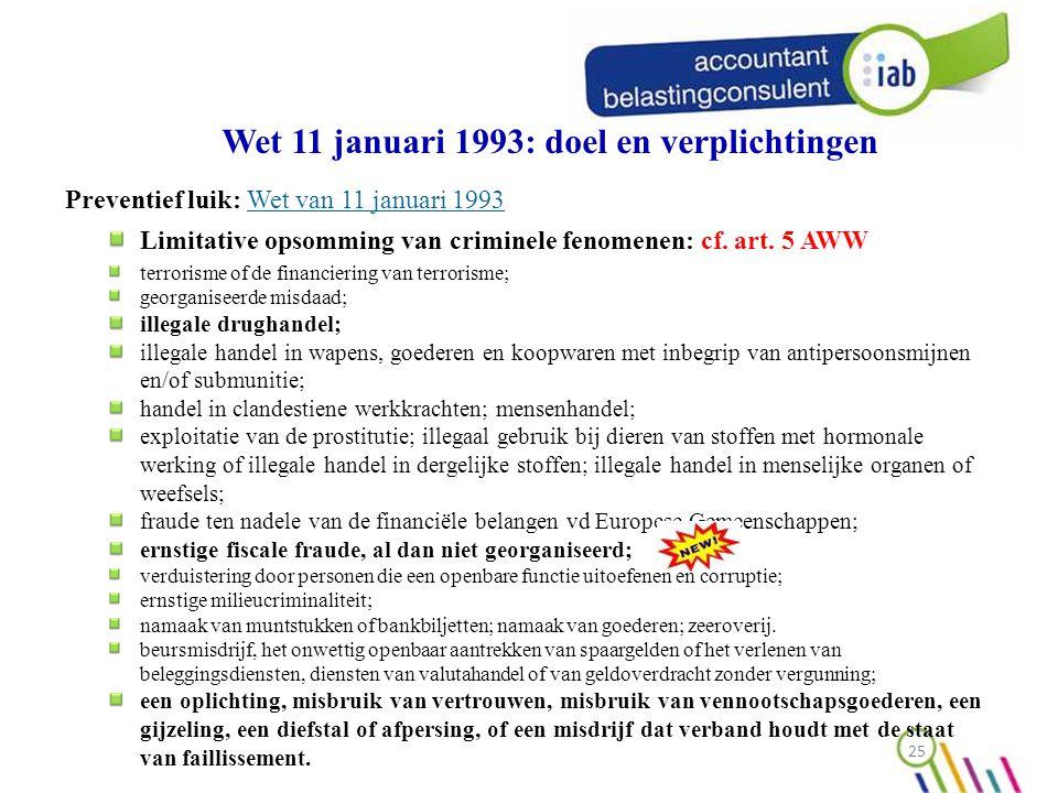 Wet 11 januari 1993: doel en verplichtingen Preventief luik: Wet van 11 januari 1993Wet van 11 januari 1993 Limitative opsomming van criminele fenomenen: cf.