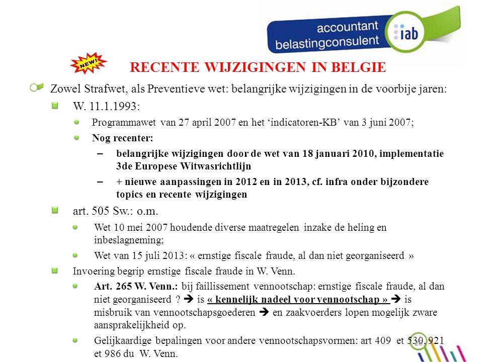 RECENTE WIJZIGINGEN IN BELGIE Zowel Strafwet, als Preventieve wet: belangrijke wijzigingen in de voorbije jaren: W.