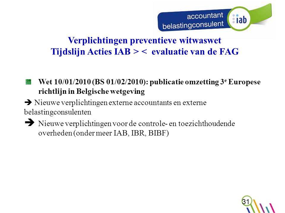 Verplichtingen preventieve witwaswet Tijdslijn Acties IAB > < evaluatie van de FAG Wet 10/01/2010 (BS 01/02/2010): publicatie omzetting 3 e Europese richtlijn in Belgische wetgeving  Nieuwe verplichtingen externe accountants en externe belastingconsulenten  Nieuwe verplichtingen voor de controle- en toezichthoudende overheden (onder meer IAB, IBR, BIBF) 31