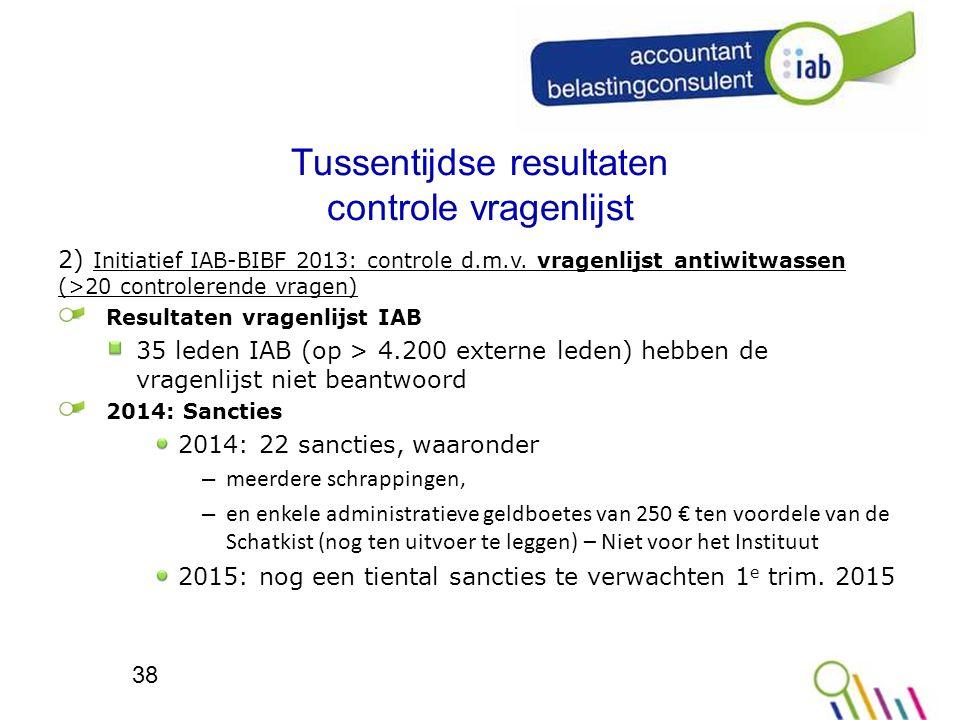 Tussentijdse resultaten controle vragenlijst 2) Initiatief IAB-BIBF 2013: controle d.m.v.