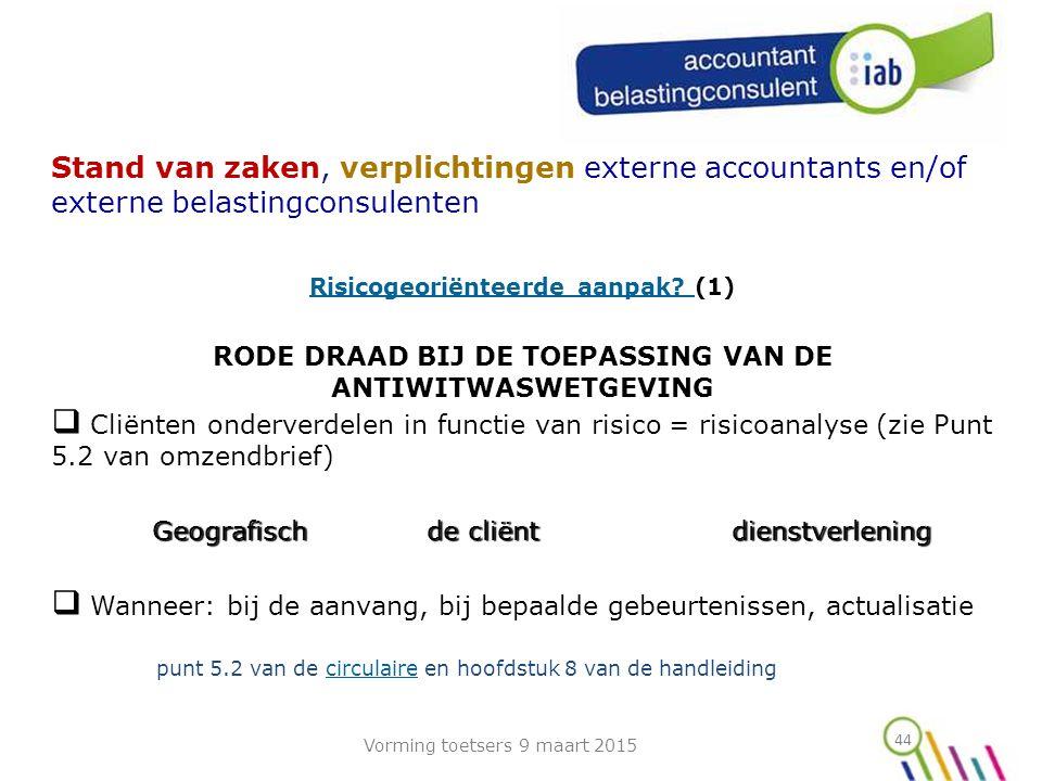 44 Stand van zaken, verplichtingen externe accountants en/of externe belastingconsulenten Risicogeoriënteerde aanpak.