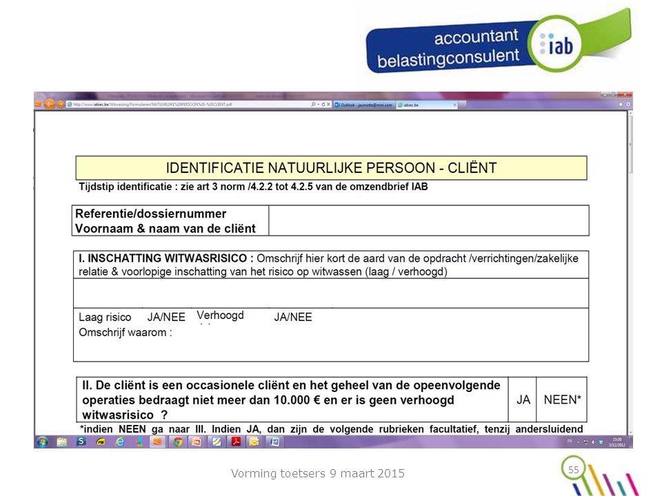 55 Stand van zaken, onze acties, externe accountants en/of externe belastingconsulenten Identificatie formulieren .