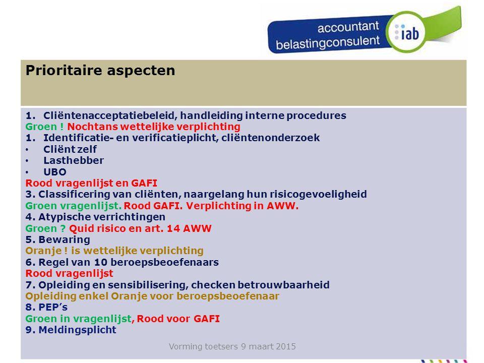 60 In de praktijk, algemene beginselen controle Prioritaire aspecten 1.Cliëntenacceptatiebeleid, handleiding interne procedures Groen .