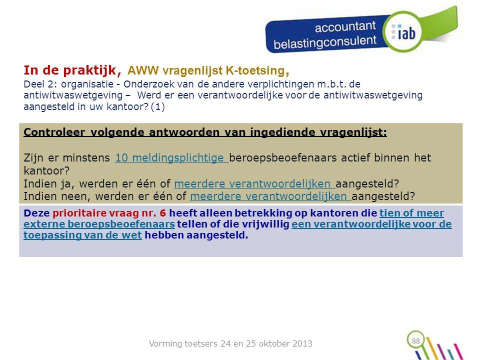 88 In de praktijk, AWW vragenlijst K-toetsing, Deel 2: organisatie - Onderzoek van de andere verplichtingen m.b.t.