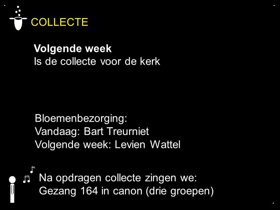 .... COLLECTE Volgende week Is de collecte voor de kerk Bloemenbezorging: Vandaag: Bart Treurniet Volgende week: Levien Wattel Na opdragen collecte zi