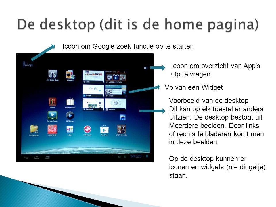 Icoon om overzicht van App's Op te vragen Icoon om Google zoek functie op te starten Voorbeeld van de desktop Dit kan op elk toestel er anders Uitzien.