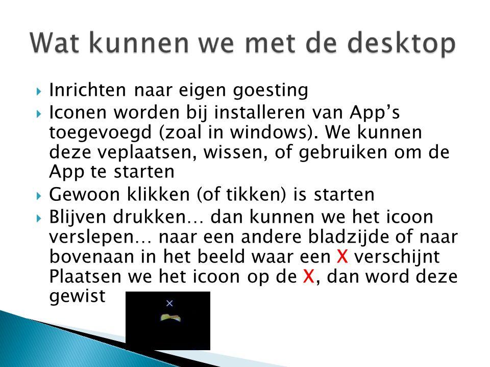  Inrichten naar eigen goesting  Iconen worden bij installeren van App's toegevoegd (zoal in windows).