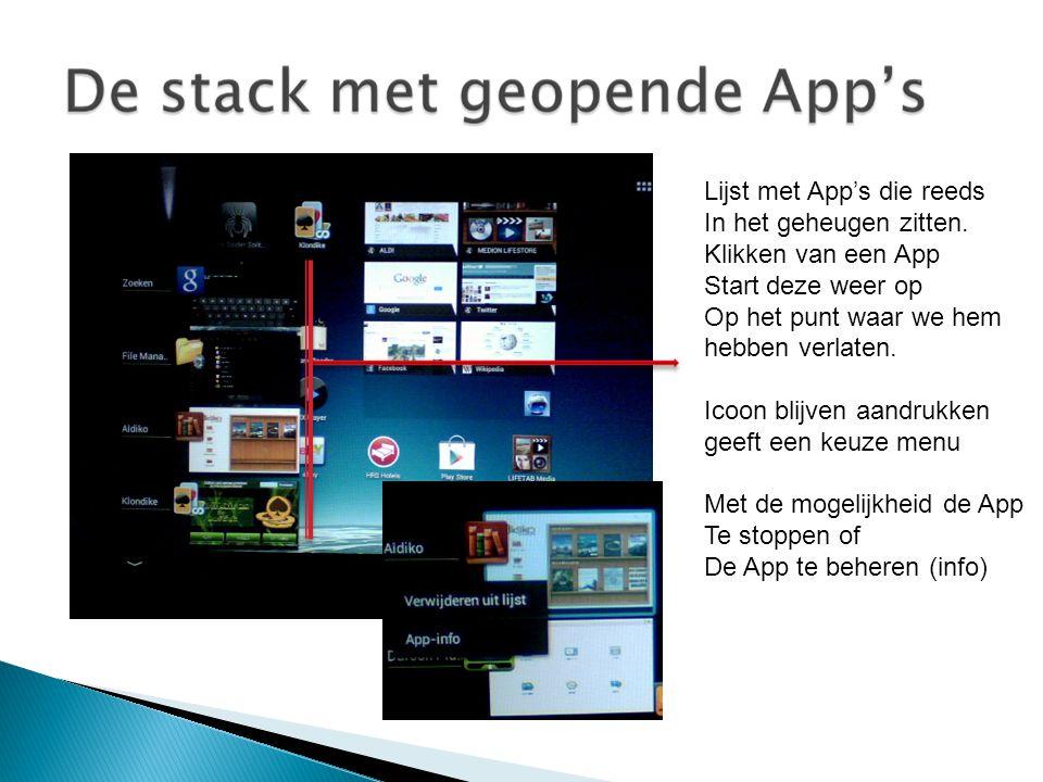 Lijst met App's die reeds In het geheugen zitten.