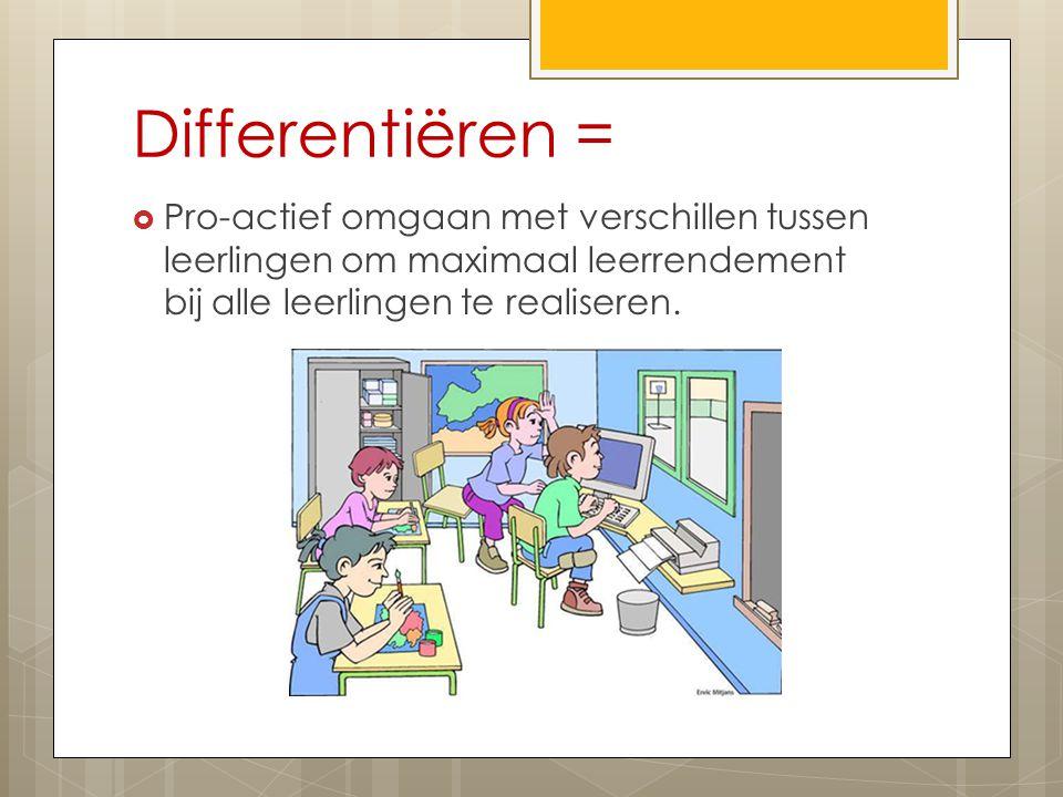 Differentiëren =  Pro-actief omgaan met verschillen tussen leerlingen om maximaal leerrendement bij alle leerlingen te realiseren.