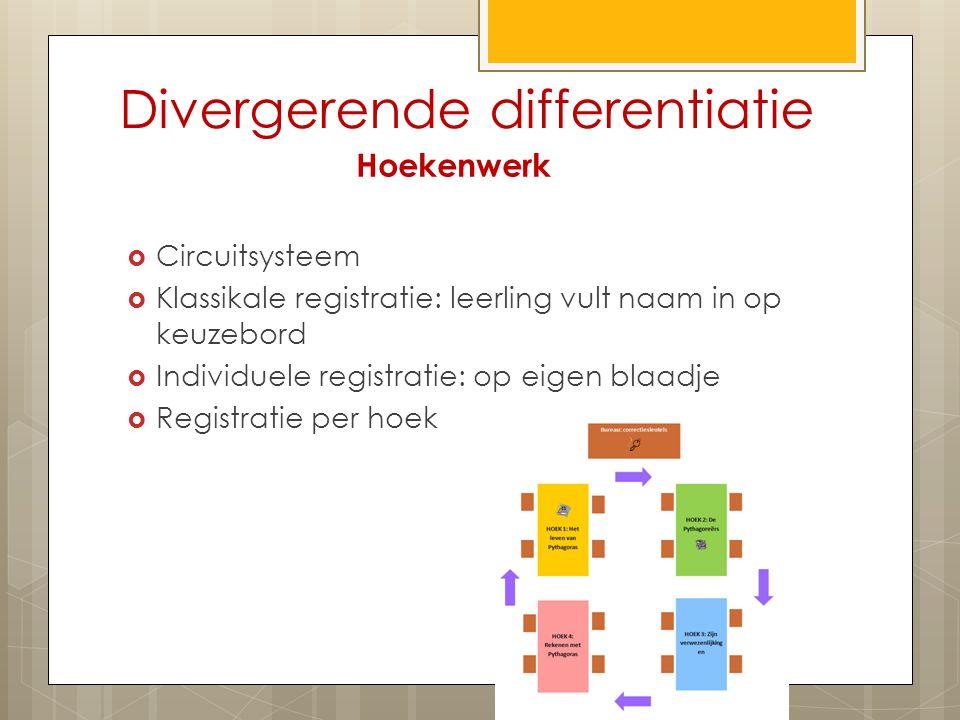 Divergerende differentiatie Hoekenwerk  Circuitsysteem  Klassikale registratie: leerling vult naam in op keuzebord  Individuele registratie: op eigen blaadje  Registratie per hoek