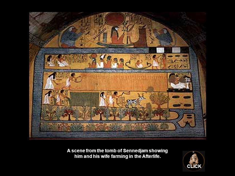 A scene from the tomb of Sennedjam showing him and his wife farming in the Afterlife. CLICK
