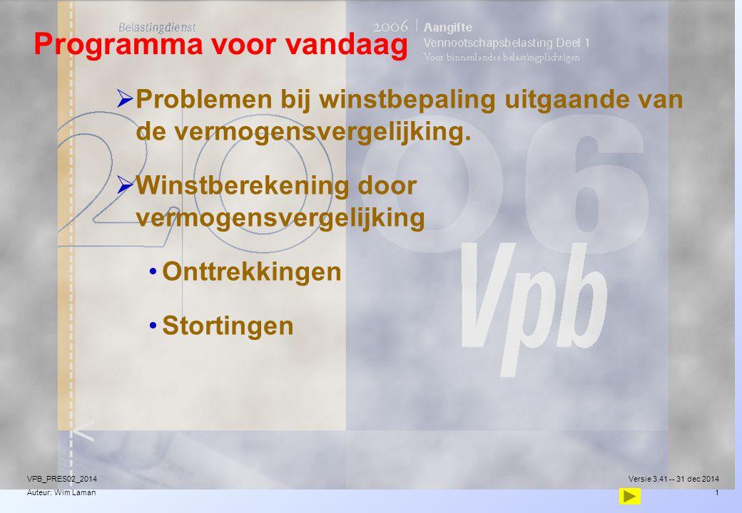 Auteur: Wim Laman Programma voor vandaag  Problemen bij winstbepaling uitgaande van de vermogensvergelijking.  Winstberekening door vermogensvergeli