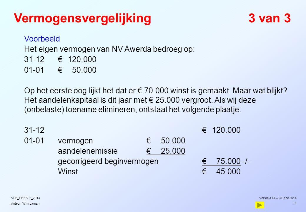 Auteur: Wim Laman Vermogensvergelijking3 van 3  Voorbeeld  Het eigen vermogen van NV Awerda bedroeg op:  31-12€120.000  01-01€50.000  Op het eers