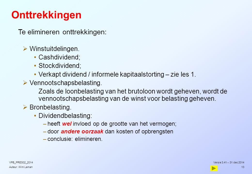 Auteur: Wim Laman Onttrekkingen  Te elimineren onttrekkingen:  Winstuitdelingen. Cashdividend; Stockdividend; Verkapt dividend / informele kapitaals
