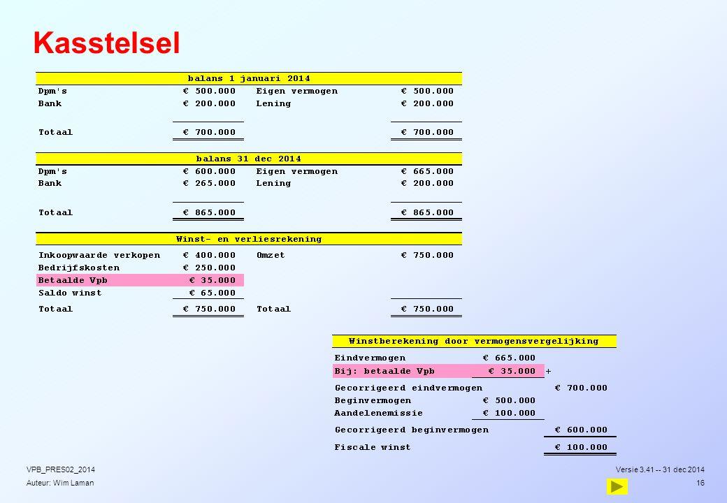Auteur: Wim Laman Kasstelsel Versie 3.41 -- 31 dec 2014VPB_PRES02_2014 16
