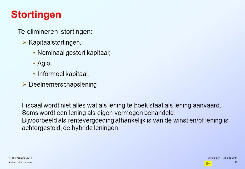 Auteur: Wim Laman Stortingen  Te elimineren stortingen:  Kapitaalstortingen. Nominaal gestort kapitaal; Agio; Informeel kapitaal.  Deelnemerschapsl