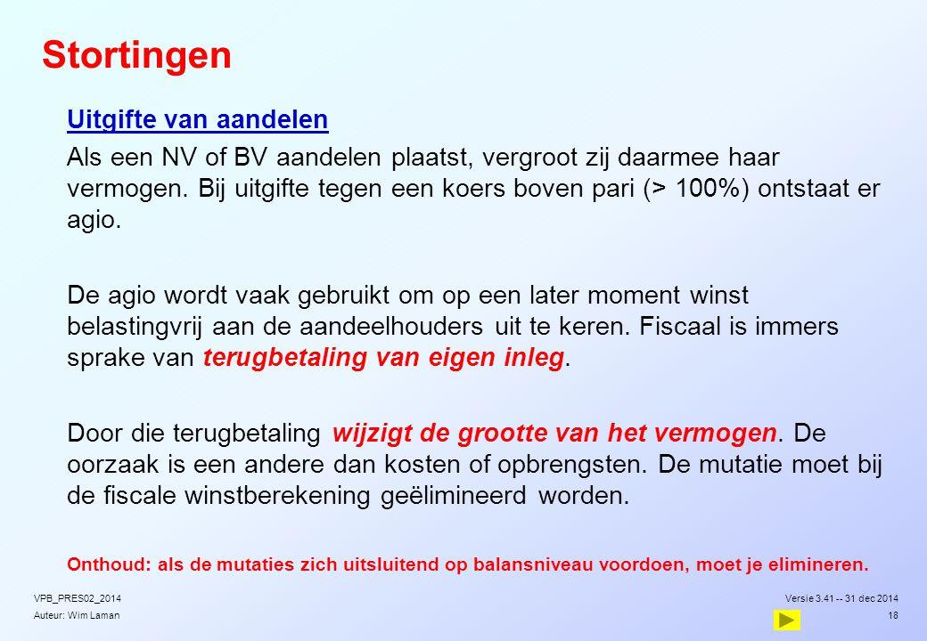 Auteur: Wim Laman Stortingen  Uitgifte van aandelen  Als een NV of BV aandelen plaatst, vergroot zij daarmee haar vermogen. Bij uitgifte tegen een k