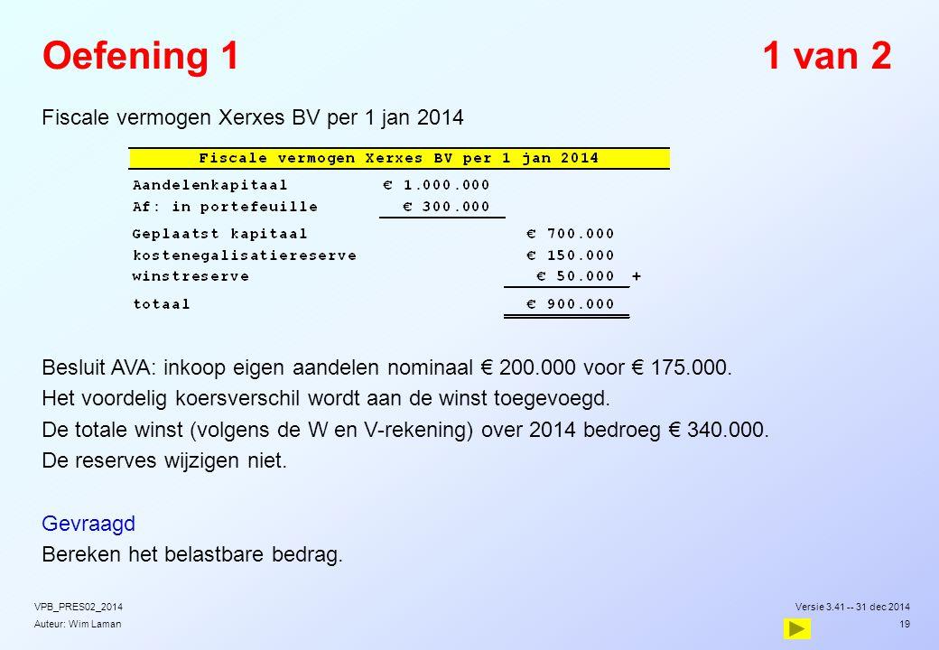 Auteur: Wim Laman Oefening 11 van 2 Fiscale vermogen Xerxes BV per 1 jan 2014 Besluit AVA: inkoop eigen aandelen nominaal € 200.000 voor € 175.000. He