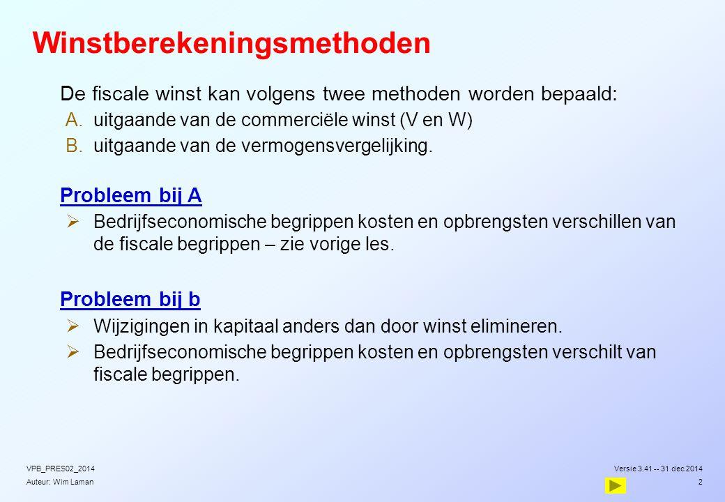 Auteur: Wim Laman Winstberekeningsmethoden  De fiscale winst kan volgens twee methoden worden bepaald:  uitgaande van de commerciële winst (V en W)