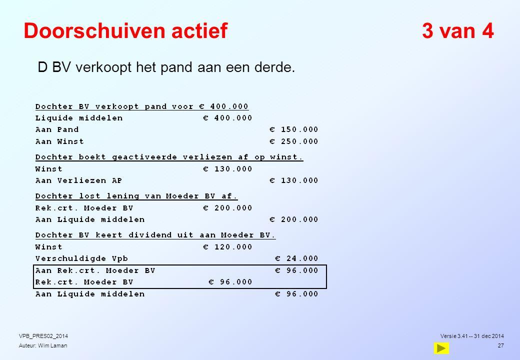 Auteur: Wim Laman Doorschuiven actief3 van 4  D BV verkoopt het pand aan een derde. Versie 3.41 -- 31 dec 2014VPB_PRES02_2014 27