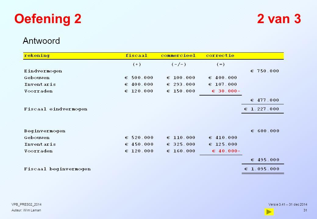 Auteur: Wim Laman Oefening 22 van 3  Antwoord Versie 3.41 -- 31 dec 2014VPB_PRES02_2014 31