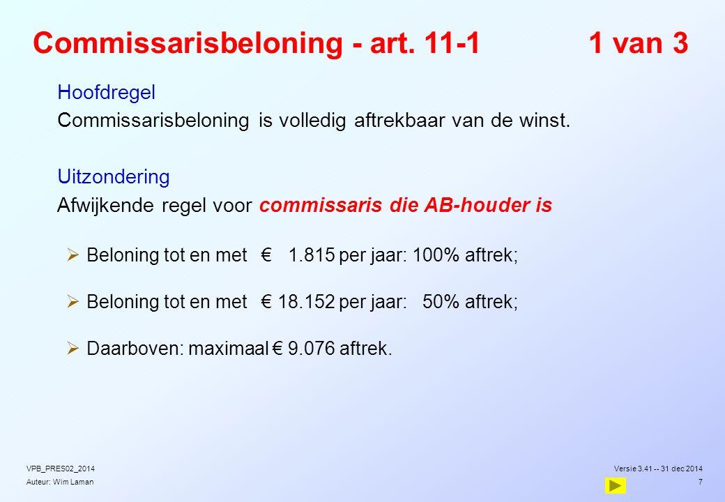 Auteur: Wim Laman Commissarisbeloning - art. 11-11 van 3  Hoofdregel  Commissarisbeloning is volledig aftrekbaar van de winst.  Uitzondering  Afwi