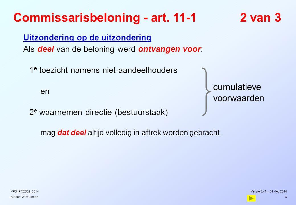 Auteur: Wim Laman Commissarisbeloning - art. 11-12 van 3  Uitzondering op de uitzondering  Als deel van de beloning werd ontvangen voor:  1 e toezi
