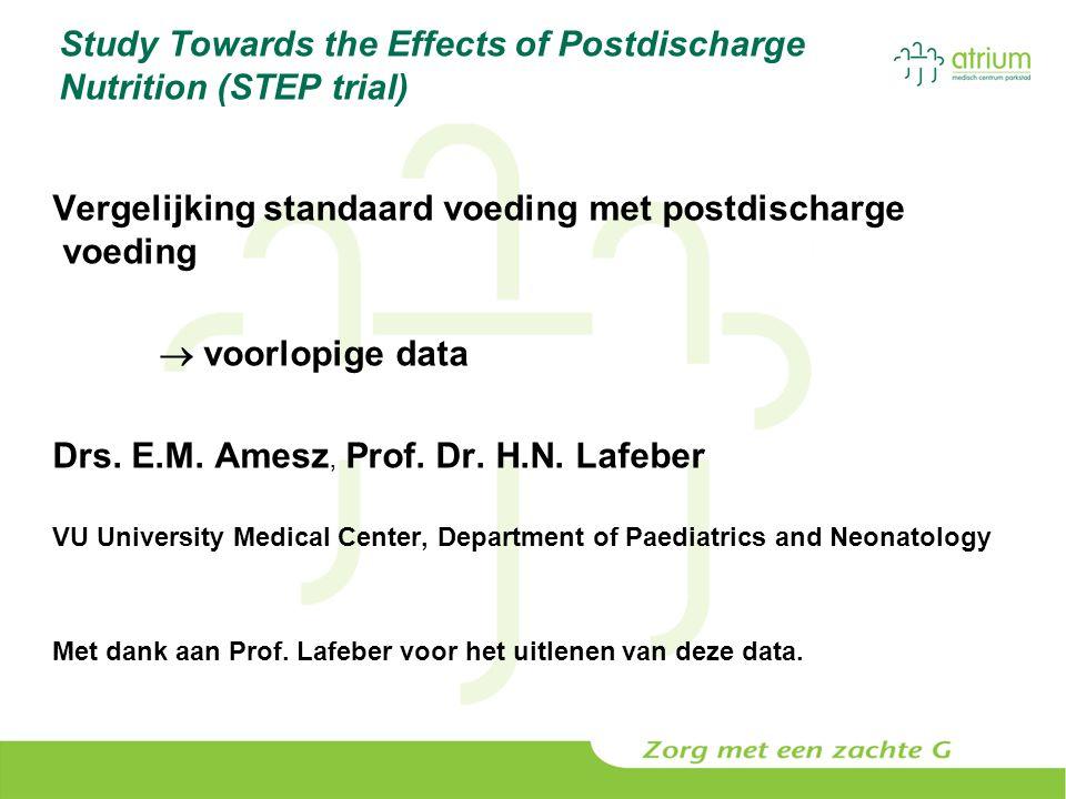 Study Towards the Effects of Postdischarge Nutrition (STEP trial) Vergelijking standaard voeding met postdischarge voeding  voorlopige data Drs. E.M.