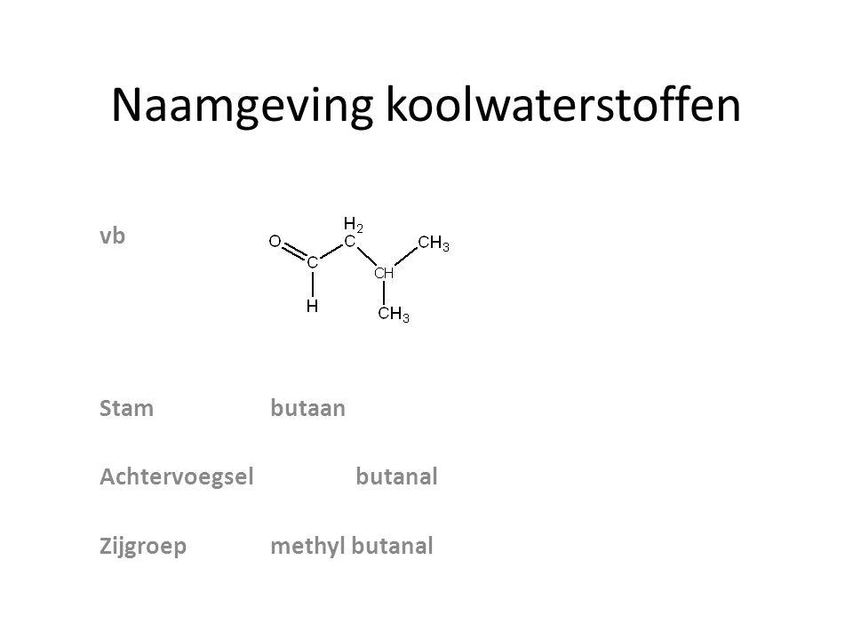 Naamgeving koolwaterstoffen vb Stambutaan Achtervoegselbutanal Zijgroepmethyl butanal