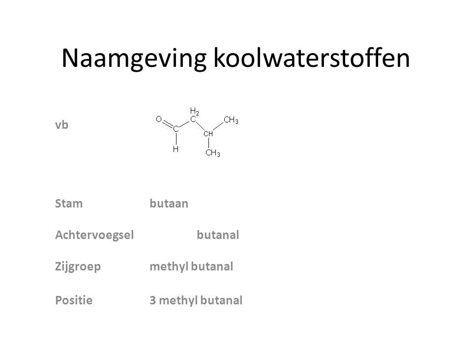 Naamgeving koolwaterstoffen vb Stambutaan Achtervoegselbutanal Zijgroepmethyl butanal Positie3 methyl butanal