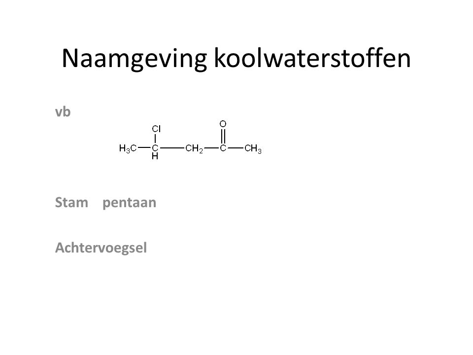 Naamgeving koolwaterstoffen vb Stampentaan Achtervoegsel
