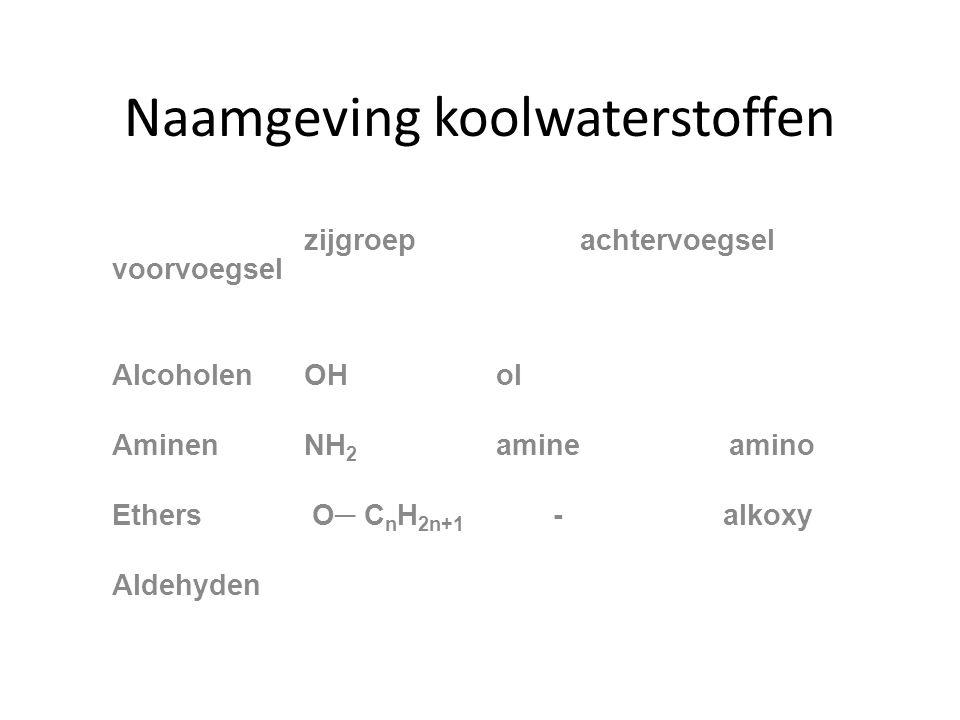 Naamgeving koolwaterstoffen zijgroep achtervoegsel voorvoegsel AlcoholenOHol AminenNH 2 amine amino Ethers O─ C n H 2n+1 - alkoxy Aldehyden