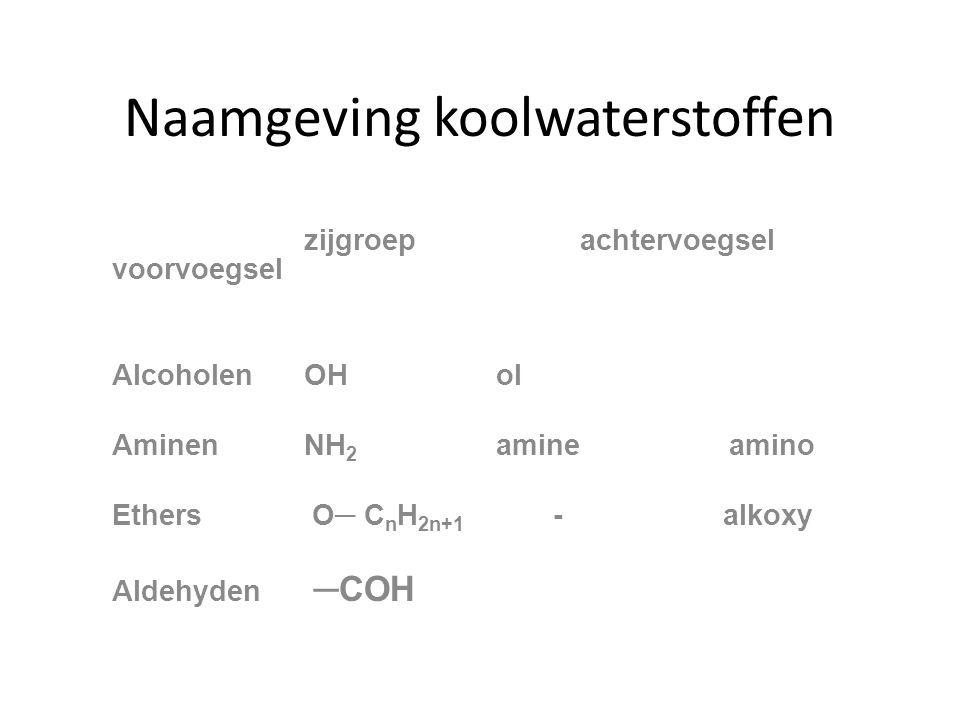 Naamgeving koolwaterstoffen zijgroep achtervoegsel voorvoegsel AlcoholenOHol AminenNH 2 amine amino Ethers O─ C n H 2n+1 - alkoxy Aldehyden ─COH