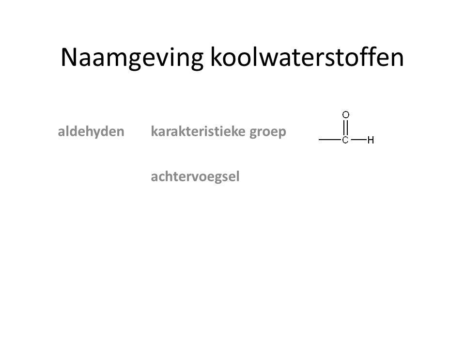 Naamgeving koolwaterstoffen vb Stambutaan Achtervoegselbutanal Zijgroepmethyl butanal Positie