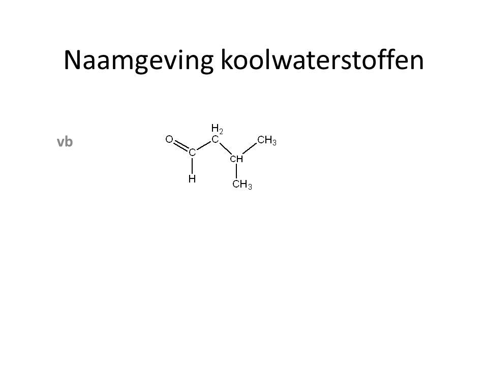 Naamgeving koolwaterstoffen zijgroep achtervoegsel voorvoegsel AlcoholenOH ol AminenNH 2 amine amino Ethers O─ C n H 2n+1 - alkoxy Aldehyden─COH al