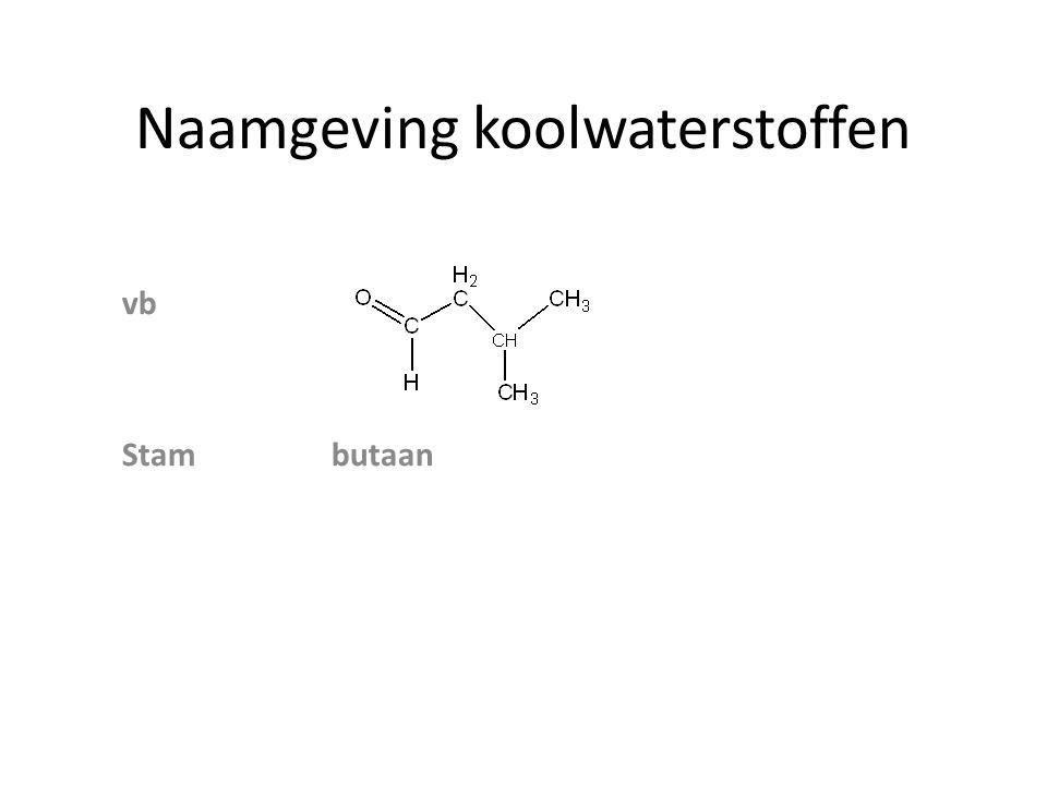 Naamgeving koolwaterstoffen zijgroep achtervoegsel voorvoegsel AlcoholenOH ol AminenNH 2 amine amino Ethers O─ C n H 2n+1 - alkoxy Aldehyden─COH al Ketonen ─CO ─