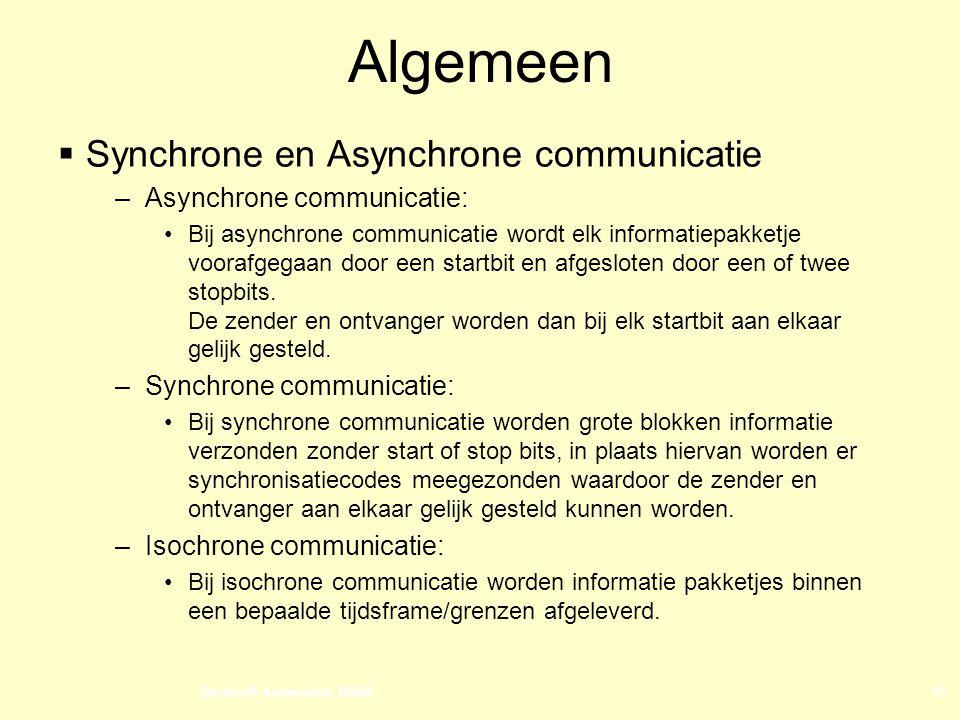 Beckhoff Automation BVBA10 Algemeen  Synchrone en Asynchrone communicatie –Asynchrone communicatie: Bij asynchrone communicatie wordt elk informatiepakketje voorafgegaan door een startbit en afgesloten door een of twee stopbits.