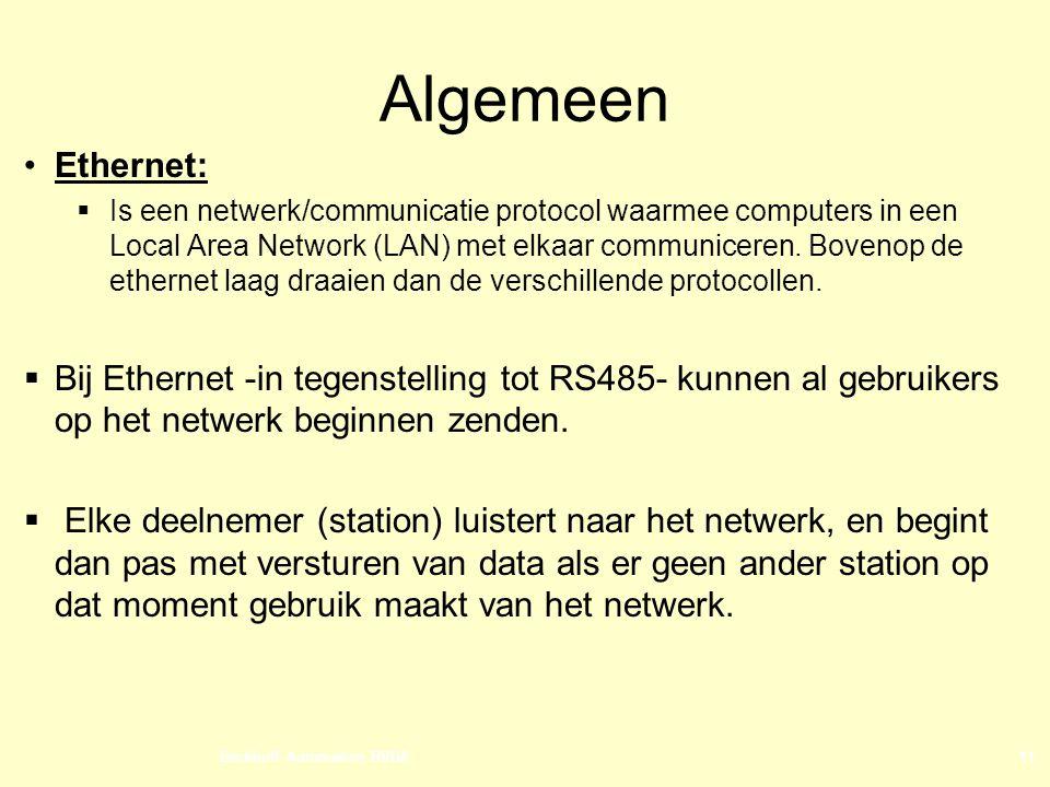 Beckhoff Automation BVBA11 Algemeen Ethernet:  Is een netwerk/communicatie protocol waarmee computers in een Local Area Network (LAN) met elkaar communiceren.