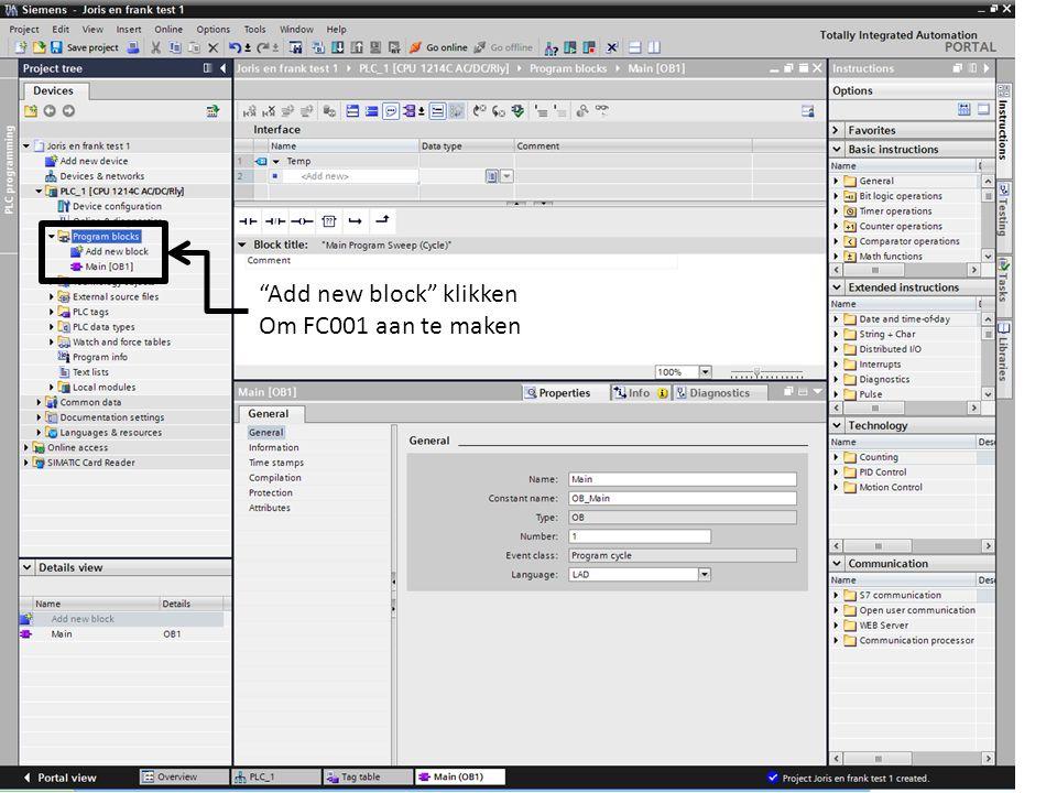 Add new block klikken Om FC001 aan te maken