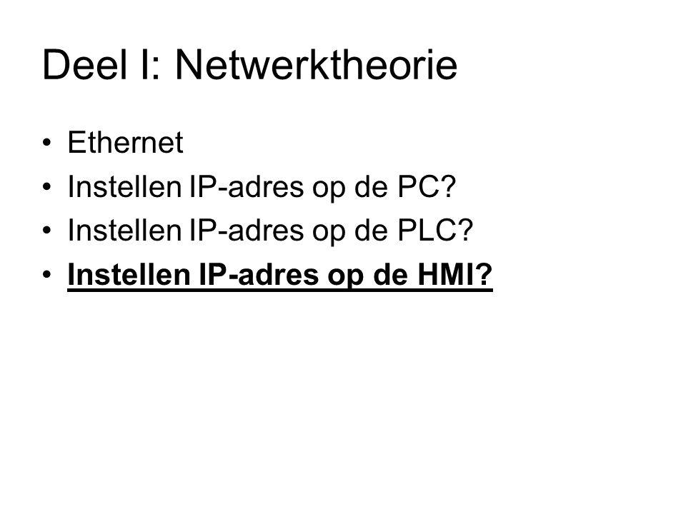 Deel I: Netwerktheorie Ethernet Instellen IP-adres op de PC.