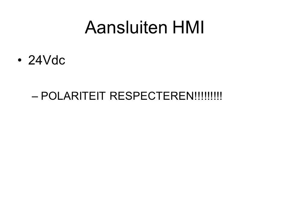 Aansluiten HMI 24Vdc –POLARITEIT RESPECTEREN!!!!!!!!!
