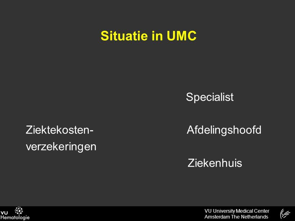 VU University Medical Center Amsterdam The Netherlands Situatie in UMC Specialist Ziektekosten- Afdelingshoofd verzekeringen Ziekenhuis