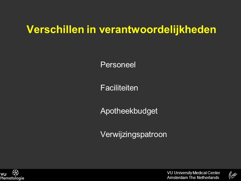 VU University Medical Center Amsterdam The Netherlands Verschillen in verantwoordelijkheden Personeel Faciliteiten Apotheekbudget Verwijzingspatroon