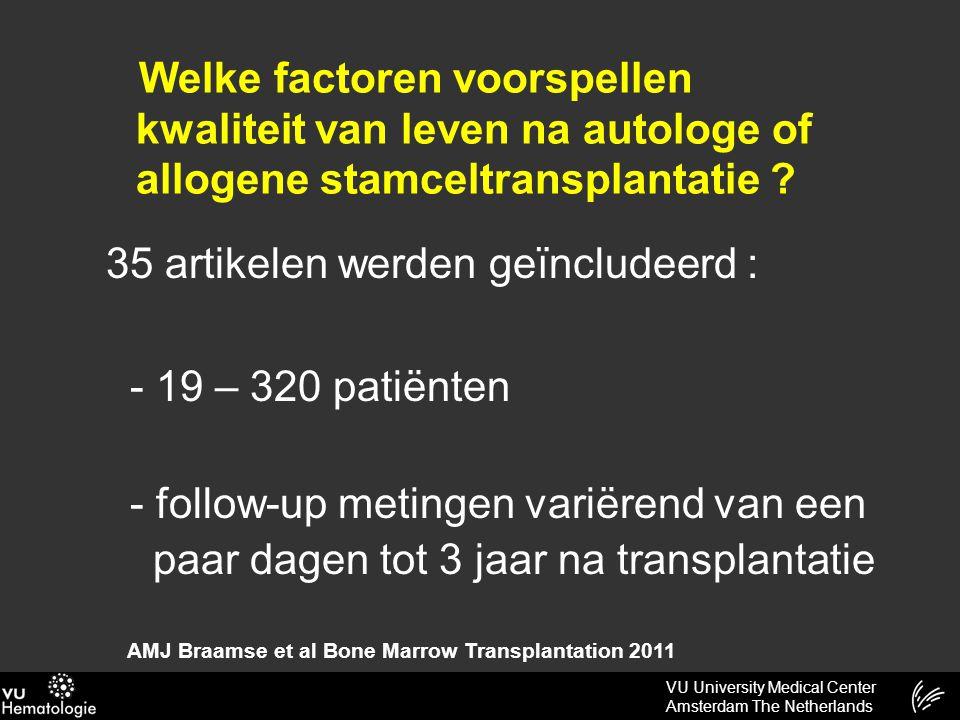 VU University Medical Center Amsterdam The Netherlands Conclusie AMJ Braamse et al Bone Marrow Transplantation 2011 Verhoogd risico op een lagere kwaliteit van leven bestaat bij : -Patiënten met distress vóór de transplantatie -Patiënten met weinig sociale steun -Jongere patiënten -Vrouwelijke patiënten