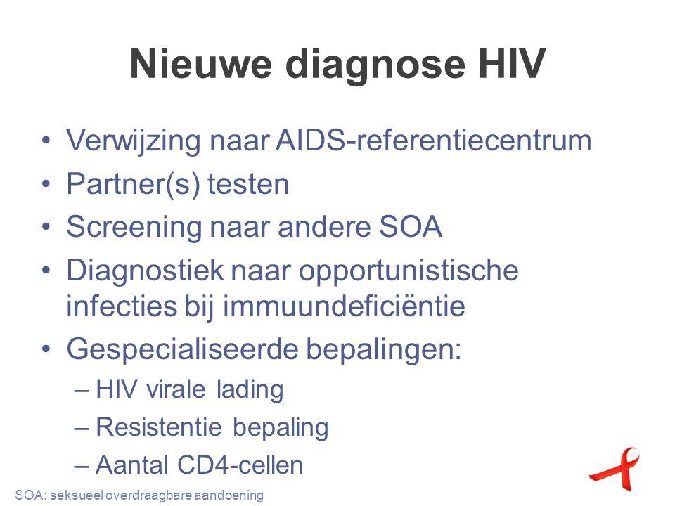 Nieuwe diagnose HIV Verwijzing naar AIDS-referentiecentrum Partner(s) testen Screening naar andere SOA Diagnostiek naar opportunistische infecties bij