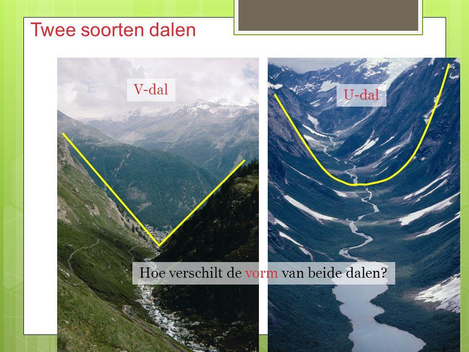 Twee soorten dalen Hoe verschilt de vorm van beide dalen? V-dal U-dal