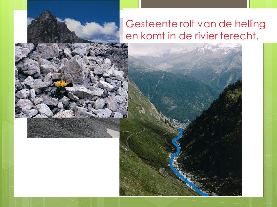 Gesteente rolt van de helling en komt in de rivier terecht. 1 Verbrokkeld gesteente 2 rolt van de helling 3 en komt in de rivier