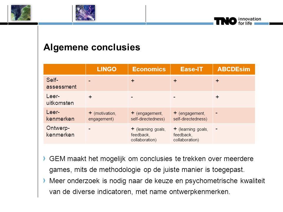 LINGOEconomicsEase-ITABCDEsim Self- assessment -+++ Leer- uitkomsten +--+ Leer- kenmerken + (motivation, engagement) + (engagement, self-directedness)