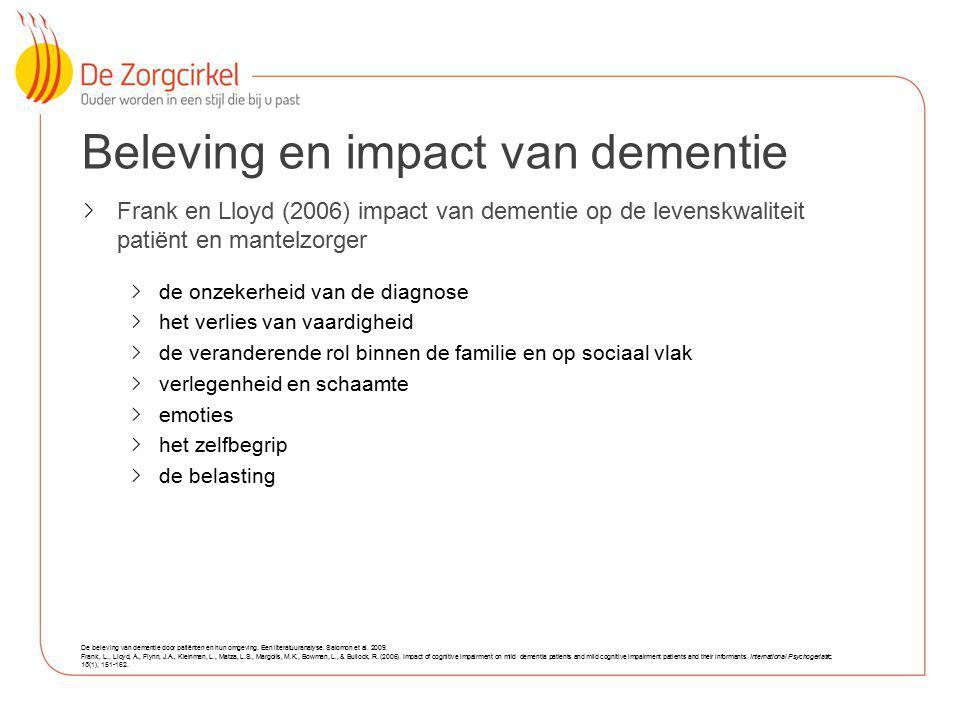 11 Beleving en impact van dementie Frank en Lloyd (2006) impact van dementie op de levenskwaliteit patiënt en mantelzorger de onzekerheid van de diagn