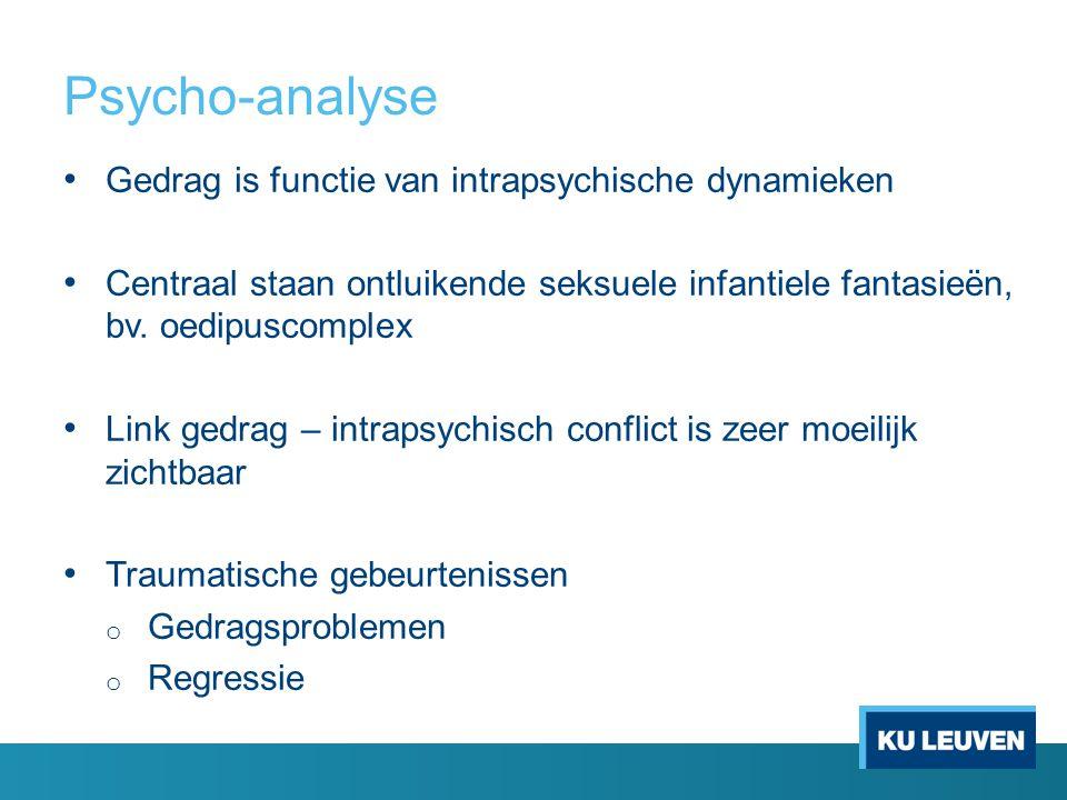 Psycho-analyse Gedrag is functie van intrapsychische dynamieken Centraal staan ontluikende seksuele infantiele fantasieën, bv.